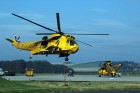 A Sea King search and rescue helicopter of 120 squadron takes off from RAF Kinloss.