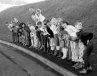 Green Cross Code man and Darth Vader Dave Prowse meets Launceston schoolchildren.