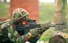 Using the SA80 on the firing range.