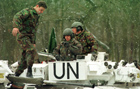 UN vehicles on standy during the conflict in Bosnia.