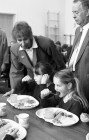 Junior Education Minister Angela Rumbold at Padstow CP school. 13/04/89.