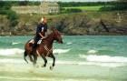 Gill Smedley and Charlie at Harlyn Bay in Cornwall.