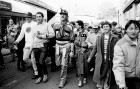 Cricketer Ian Botham passes through Launceston on his marathon walk from John O' Groats to Lands End in aid of CLIC. 27/11/85.