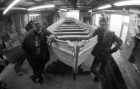Ted Luck and John Fuge rebuild a Victorian ceremonial barge. 29/12/92. Ref G166/29.