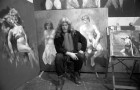 Artist Robert Lenkiewicz in his studio. 28/4/90. Ref 163/56.
