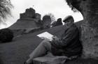 Cornish artist Norman Preston at Launceston castle. 24/11/87. Ref 161/81.