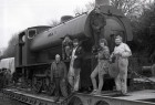 Members of Bodmin and Wenford Railway society with their latest loco. 23/2/87. Ref 157/42.