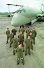 The crew of a Nimrod of the Royal Air Force in front of the aircraft.