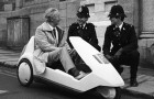 Renee Holland and his Sinclair C5 attract interest in Launceston.