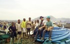 Me with some new found chums at a refugee camp on the borders of Zaire and Rwanda.