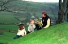 A storyteller entertains children in North Devon.